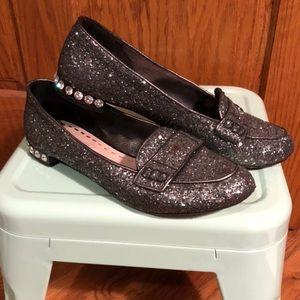 🆕 Miu Miu Glitter Loafers Sz 8